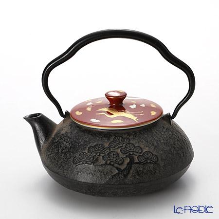 Kyo ware / Kiyomizu ware 'Akamaki(Red) Kingin Tsuru' S0140 Iron Tea Pot 510ml
