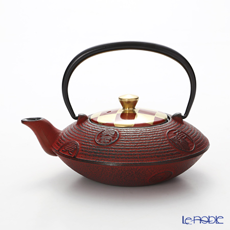 Kyo ware / Kiyomizu ware 'Gilded(Gold) Ichimatsu' Red K0152 Iron Tea Pot Red 410ml (S)
