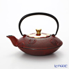 Kyo ware / Kiyomizu ware 'Gilded(Gold) Ichimatsu' Red K0152 Iron Tea Pot Red (S) 410ml