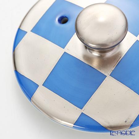Kyo ware / Kiyomizu ware Silver Ichimatsu BLue K0158 Iron Tea Pot (S) 410ml