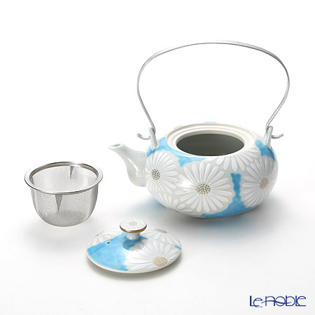 Kyo ware / Kiyomizu ware 'Marguerite' Blue K0202 Tea Pot 600ml