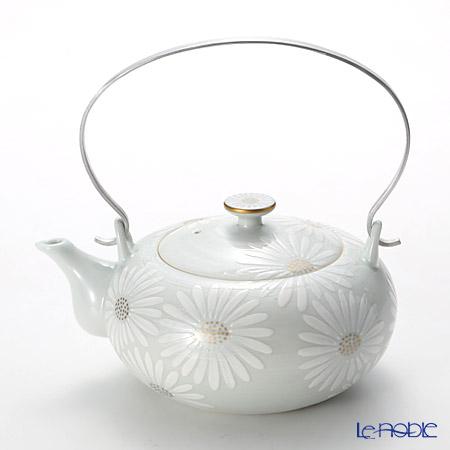 京焼・清水焼 ティーポット(石瓶) K0205 白菊刷毛目銀彩 600ml アルミハンドル
