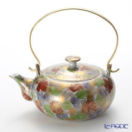 T. Nishikawa & Co. Inc - Kyoto ware / Kiyomizu ware  Teapot, Kingosai w/brass handle, S0206