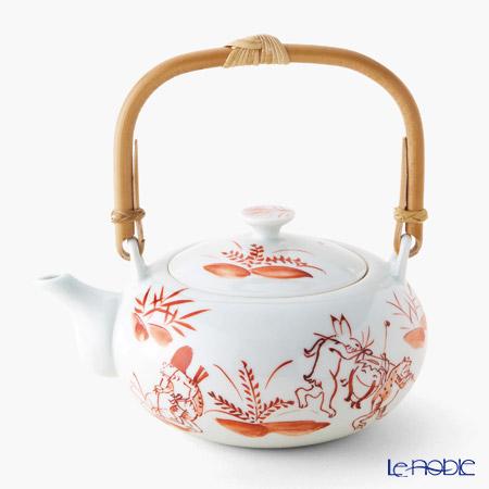 T. Nishikawa & Co. Inc - Kyoto ware / Kiyomizu ware  Teapot, AkaKozanji w/rattan hand, S0209