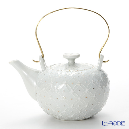T. Nishikawa & Co. Inc - Kyoto ware / Kiyomizu ware  Teapot, HakujiShippGD&SV Lbras.h, S0210