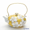 Kyoto Kiyomizu pottery teapot (石瓶) S0216 White cherry yellow 600 ml aluminum handle