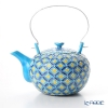 Kyoto Kiyomizu pottery teapot (石瓶) S0212 Kou spring kiln Shinichi Takashima Blue three-color cloisonné large 600 ml aluminum handle