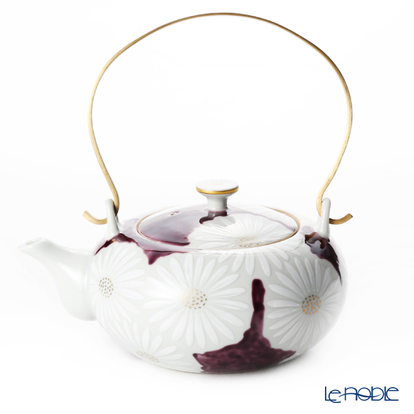 Kyo ware / Kiyomizu ware 'Marguerite' Purple K0203 Tea Pot 600ml