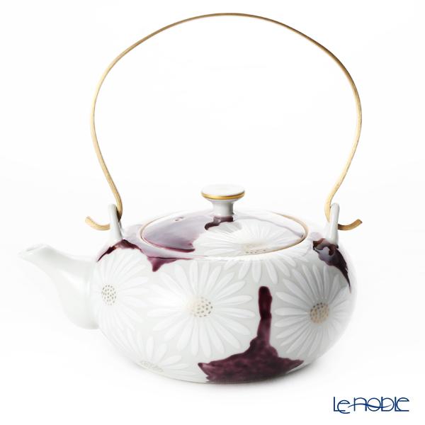 京焼・清水焼 ティーポット(石瓶) K0203 白菊紫地 600ml アルミハンドル