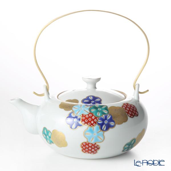 京焼・清水焼 ティーポット (石瓶) K0223 五彩華舞 赤 600ml