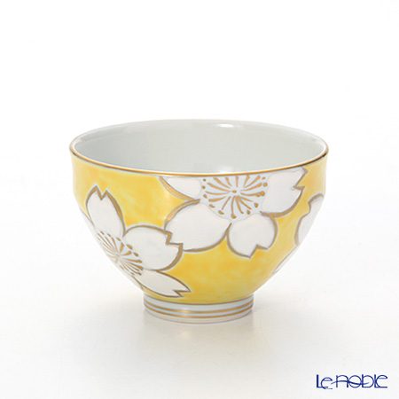 Kyo ware / Kiyomizu ware 'Cherry Flower' Yellow Tea Cup & Saucer