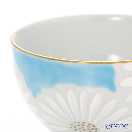 Kyo ware / Kiyomizu ware 'Marguerite' Blue K0332 Tea Cup (M) 180ml