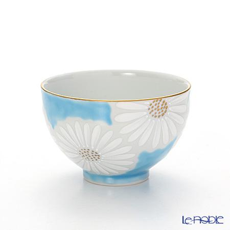 京焼・清水焼 汲出し碗 中 白菊青地 K0332