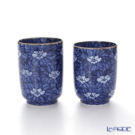 T. Nishikawa & Co. Inc - Kyoto ware / Kiyomizu ware  Teacup  (2pcs/set), Sometsuke Camellia, T0462