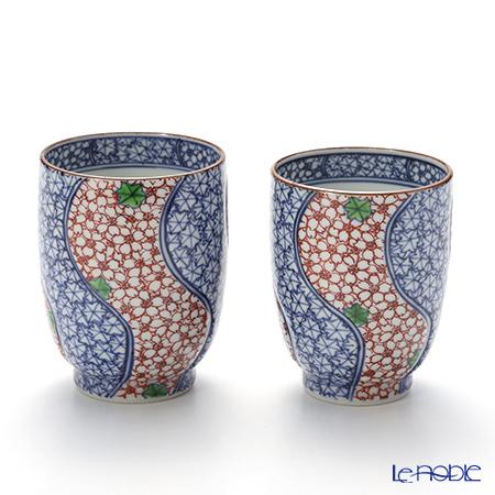 T. Nishikawa & Co. Inc - Kyoto ware / Kiyomizu ware  Teacup  (2pcs/set), Someaka Unkinzume, S0466