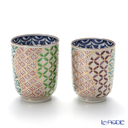T. Nishikawa & Co. Inc - Kyoto ware / Kiyomizu ware  Teacup  (2pcs/set), Kinsai Neji Shonzui, S0468