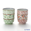 Kyo ware / Kiyomizu ware 'Nakaobi Akaaoe' S0471 Tea Cup 200ml+240ml (set of 2)