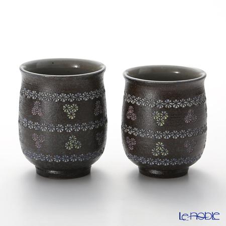 T. Nishikawa & Co. Inc - Kyoto ware / Kiyomizu ware  Teacup  (2pcs/set), Nanban Obi Mishima, M0480