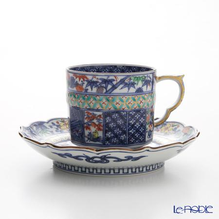 京焼・清水焼 コーヒーカップ&ソーサー珈琲碗皿 S0700 渕松竹梅小紋 緑