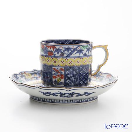 京焼・清水焼 コーヒーカップ&ソーサー珈琲碗皿 S0701渕松竹梅小紋 黄