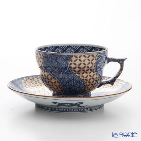 京焼・清水焼 コーヒーカップ&ソーサー珈琲碗皿 S0702 金七宝捻祥瑞 紫