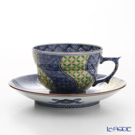 京焼・清水焼 コーヒーカップ&ソーサー珈琲碗皿 S0703 金七宝捻祥瑞 緑
