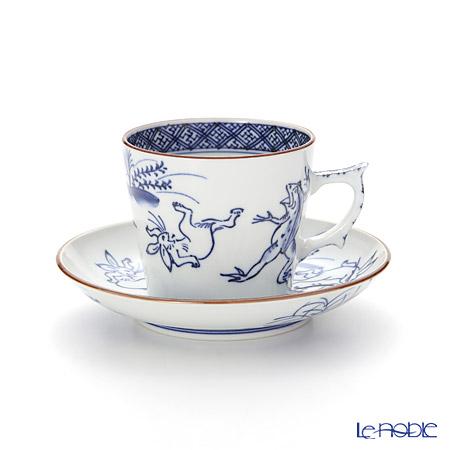 T. Nishikawa & Co. Inc - Kyoto ware / Kiyomizu ware  Coffee C/S, Sometsuke Kozanji, S0707