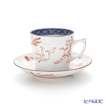 京焼・清水焼 コーヒーカップ&ソーサー珈琲碗皿 S0708赤高山寺 200ml
