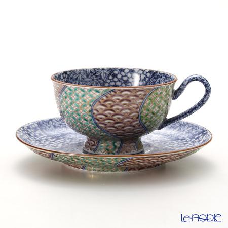京焼・清水焼 コーヒーカップ&ソーサー珈琲碗皿 011197 染付雲錦彩小紋