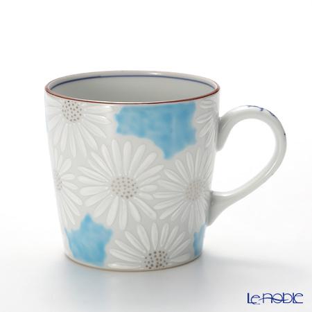 京焼・清水焼 マグカップ K0723 白菊青地