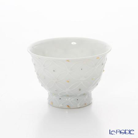 T. Nishikawa & Co. Inc - Kyoto ware / Kiyomizu ware  Sencha Teacup, Hakuji Shippomon GD&SV, S0980