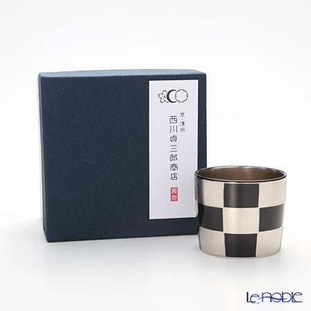 Kyo ware / Kiyomizu ware 'Silver Ichimatsu' Black K0957 Sake Cup 100ml