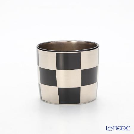 Kyo ware / Kiyomizu ware 'Silver Ichimatsu' Black K0957 Sake / Tea Cup 100ml