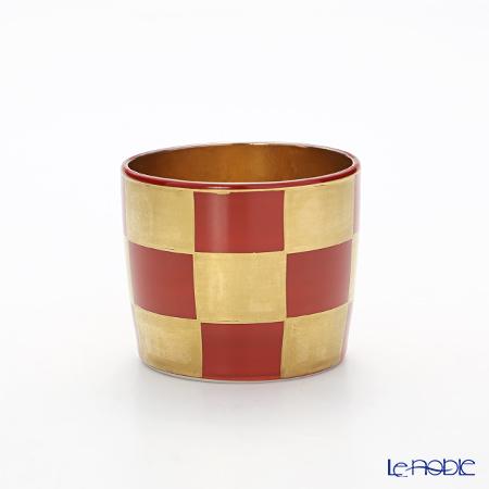 Kyo ware / Kiyomizu ware 'Gilded(Gold) Ichimatsu' Red K0956 Sake / Tea Cup 100ml