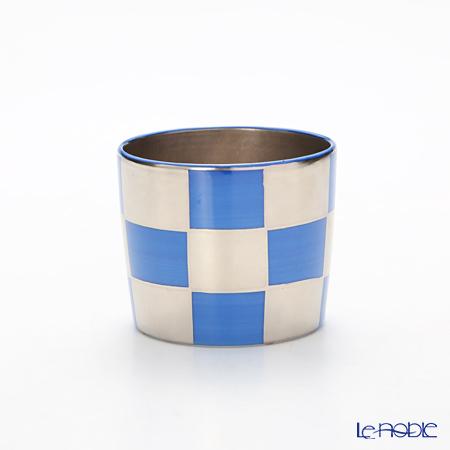 Kyo ware / Kiyomizu ware 'Silver Ichimatsu' Blue K0967 Sake / Tea Cup 100ml