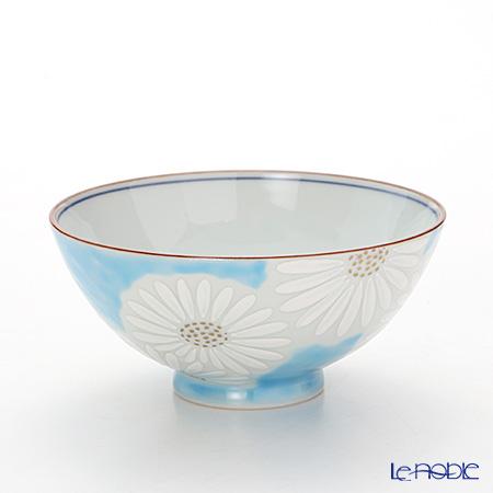 Kyo ware / Kiyomizu ware 'Marguerite' Blue K0501 Rice Bowl 225ml