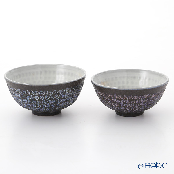 京焼・清水焼 組飯碗 M0571 南蛮三島詰 ペア