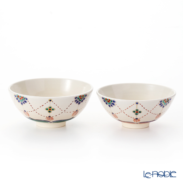 Kyo ware / Kiyomizu ware 'Yourakumon' S2514 Rice Bowl 220ml+260ml (set of 2)