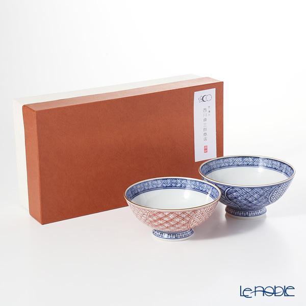 Kyo ware / Kiyomizu ware 'Sometsuke Blue Aka Neji Shonzui' Blue+Red S0555 Rice Bowl 220ml+280ml (set of 2)