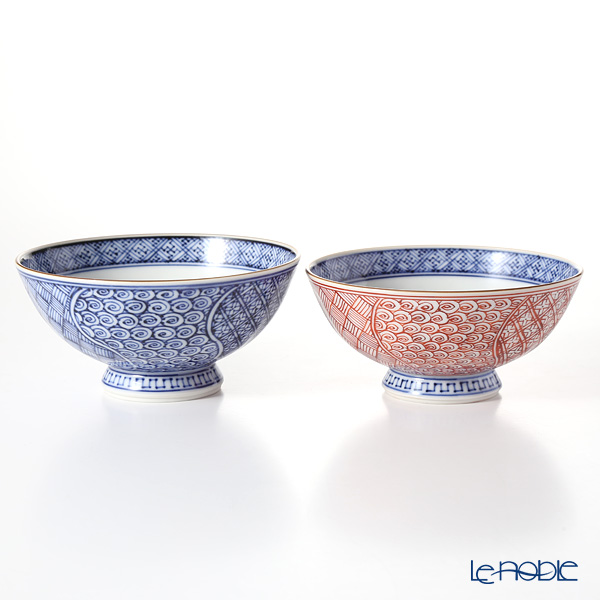 Kyo ware / Kiyomizu ware 'Sometsuke Blue Aka Neji Shonzui' Blue+Red S0555 Rice Bowl 220ml+280ml (set of 2)