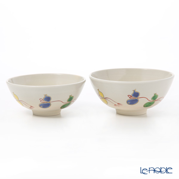 Kyo ware / Kiyomizu ware 'Gohon Sai Muhyo' S0567 Rice Bowl 220ml+260ml (set of 2)