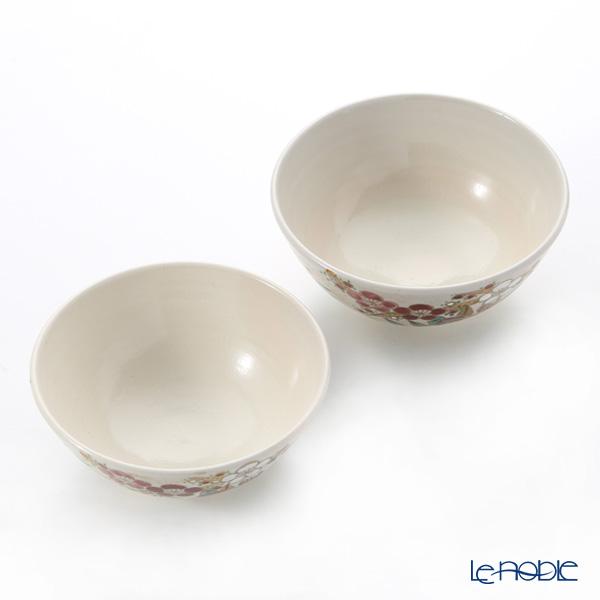 Kyo ware / Kiyomizu ware 'Shikisaika' S0580 Rice Bowl 220ml+260ml (set of 2)