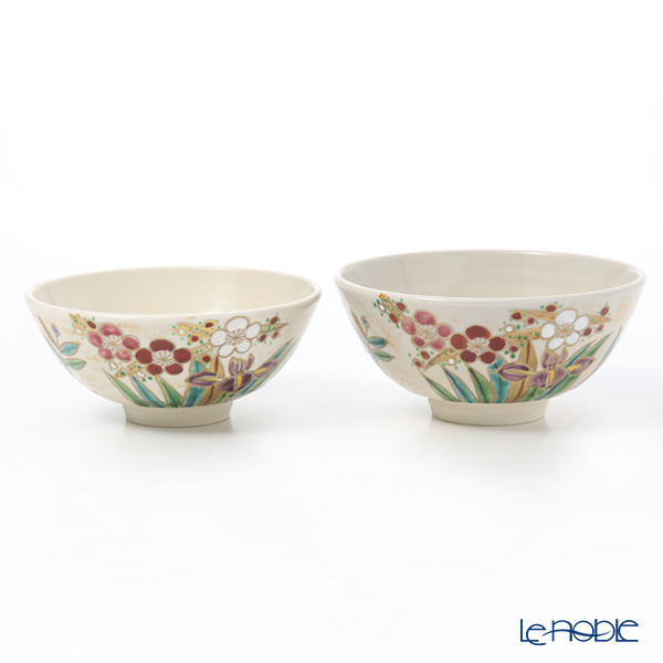 Kyo ware / Kiyomizu ware 'Shikisaika' S0580 Rice Bowl 220ml+260ml (set of 2)