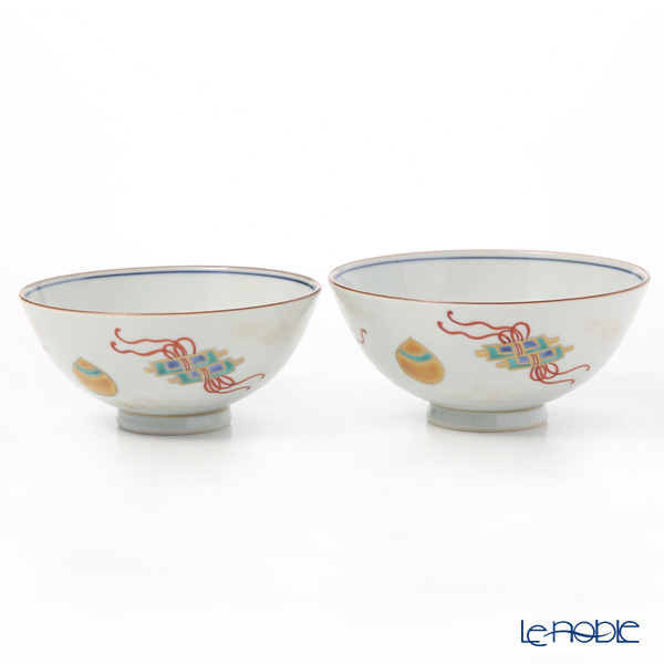Kyo ware / Kiyomizu ware 'Shikisaika' S0582 Rice Bowl 220ml+260ml (set of 2)