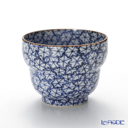 Kyo ware / Kiyomizu ware Sometsuke Blue Maple Leaf T0921 Sake Cup 100ml