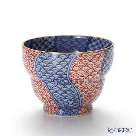 Kyo ware / Kiyomizu ware 'Sometsuke Blue Aka Red Shonzui' T0925 Sake / Tea Cup 100ml