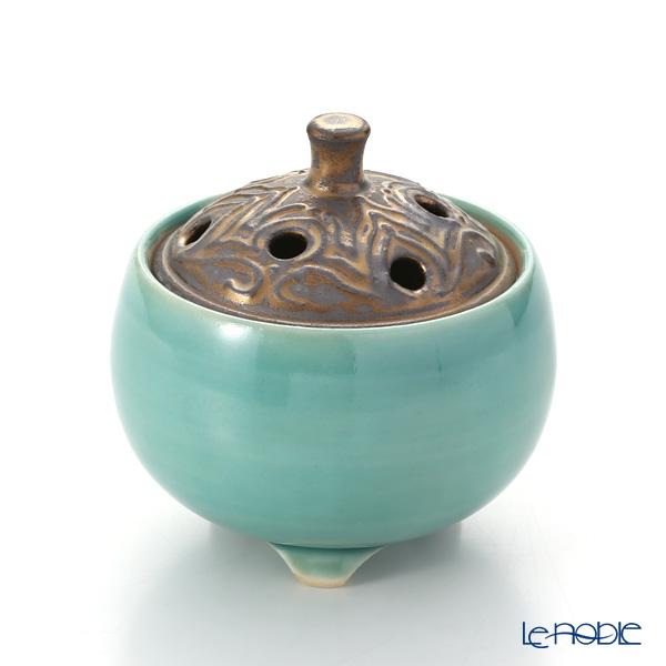 京焼・清水焼 香炉 M1056 黒金彩蒼釉