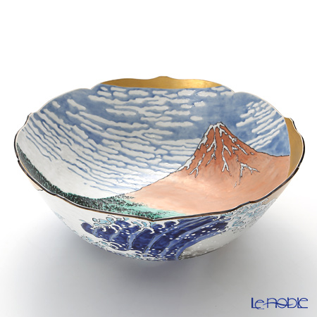 T. Nishikawa & Co. Inc - Kyoto ware / Kiyomizu ware  Bowl, Red Fuji Mountain, NK0161