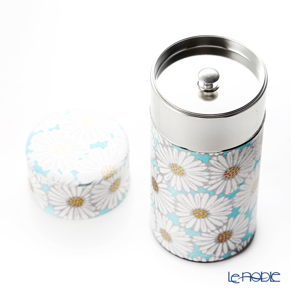 Kyo ware / Kiyomizu ware 'Marguerite' Blue S0891 Canister