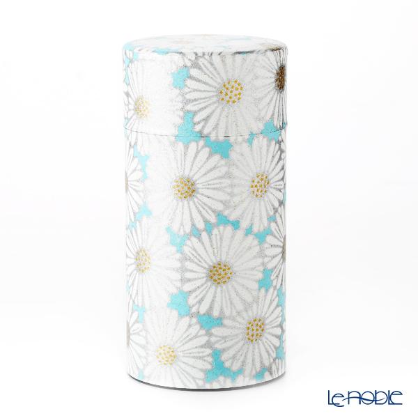 京焼・清水焼 茶缶 S0891 姫菊 青 200g アルミ製